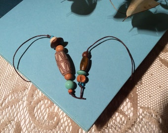 BOOKMARK---FREE SHIPPING - Aqua Beaded- Book Thong- Book Cord- Handmade- Jewelry- Free Shipping