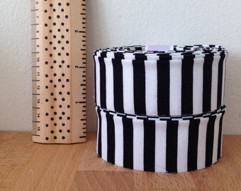 """Black and White Striped Quilt binding- Michael Miller Clown Stripe 1.25"""" double-fold cotton"""