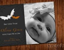 Halloween- Baby Announcement- Photo- Our Little Treat- Webs- Bats- Digital- Printable- Custom