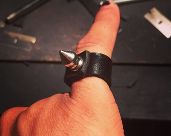leather spike ring