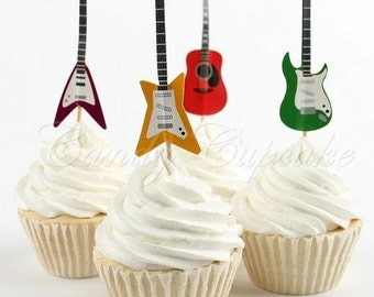 12 Set Guitar Cupcake Picks,Cake, Toppers, Picks, Party Picks