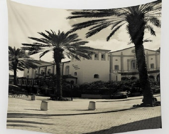Black and White Vintage Photograph Wall Tapestry Black and White Architecture Wall Tapestry Spanish Architecture Tapestry Palm Trees Miami