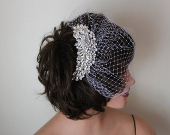 White Long Blusher Birdcage Veil with Ornate Silver and Rhinestone Comb