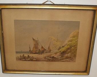 Victorian watercolour of  Fishing boats, Hastings Beach