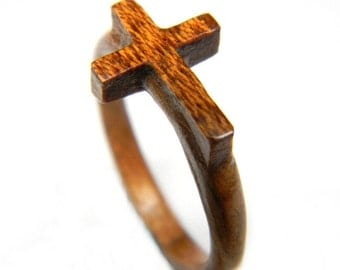 Hand Carved Wooden Cross Ring, Wood Ring, Bentwood Ring, Gift Idea, Jewelry, Rings, Jewelry, Christian Ring, Easter, Easter Gift