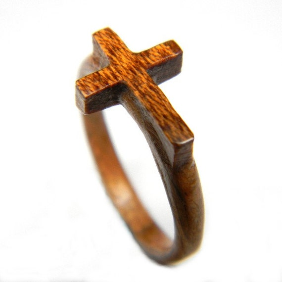 carved wooden cross ring wood ring bentwood ring gift