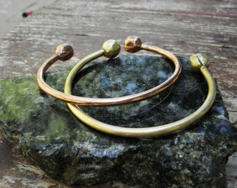 Copper and Bronze Cuff with Hammered Balls..Stackable.