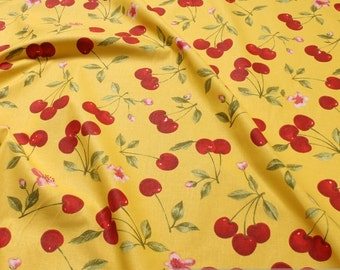 Fabric pure cotton yellow cherry 162 cm wide