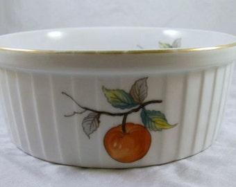 Large White Ramekin, Oven to Table Casserole Dish, Decorate Peach Motif Ramekin