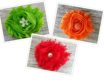 Set of three- green, orange and red Shabby Chic Chiffon Flower Hair Clip, Shabby Flower Bow