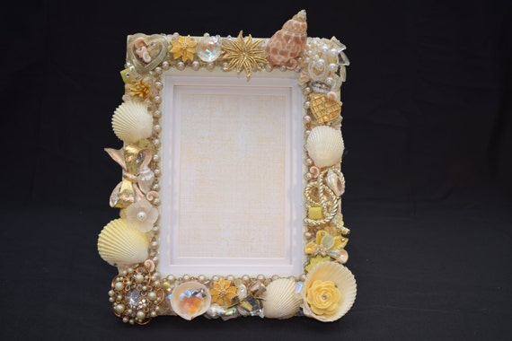 5in x 7in Gold and Yellow Hand-Decorated Picture Frame with Vintage Jewelry