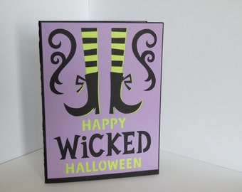 Handmade Greeting Card, Cut out greeting card, Halloween Greeting Card, Witch Greeting Card, Witch on a Broom Card, Wicked Card