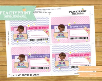 Doc McStuffins ID Cards Instant Download