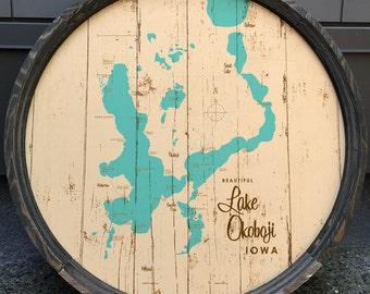 Lake Okoboji, IA Map Barrel End