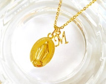 Miraculous medal Necklace with initial charm
