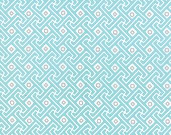 Mixologie Aqua Ice Blue with Steel Gray Circles Manhattan Metro Geometric Greek Key by Studio M for Moda - 32983-14