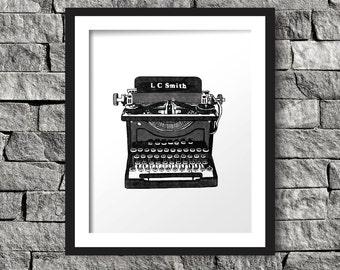 Vintage Typewriter Art Print, Instant Download, Digital Art Print, Wall Decor, Modern Wall Art Illustration