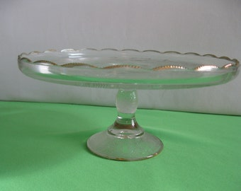 Cake Plate Jeannette Glass Harp with Stipple Pattern Pedestal Crystal with Gold Trim Made in USA