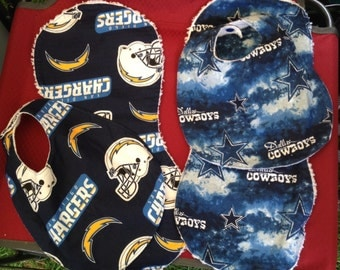 Dallas Cowboys and San Diego Chargers bib and burp cloth