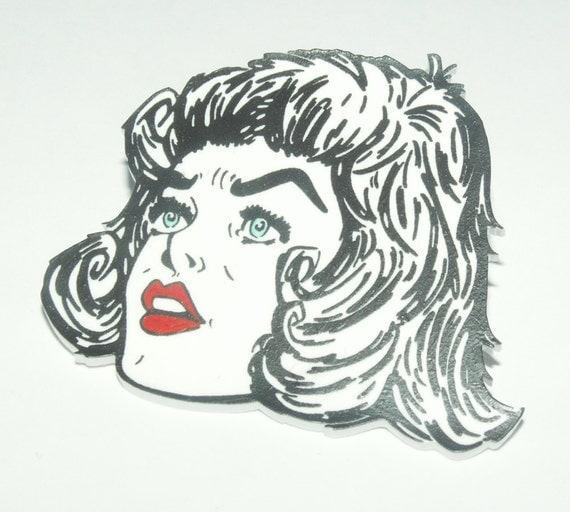 rock 39 n roll rebel shrink plastic brooch by fitzygogo on etsy. Black Bedroom Furniture Sets. Home Design Ideas