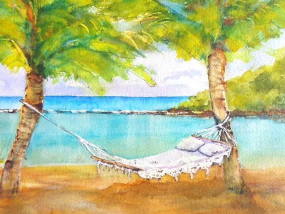 ORIGINAL eau océanique aquarelle peinture de paysage, Tropical Beach ...