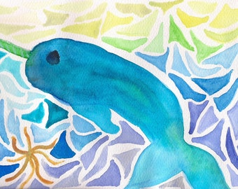 narwhal watercolor print greeting card