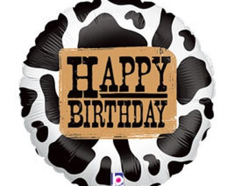 "18"" Happy Birthday Cow print foil balloon, air/helium fill, self seal, DIY supply"