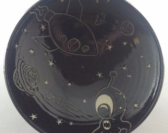 Black and White Space Alien Bowl