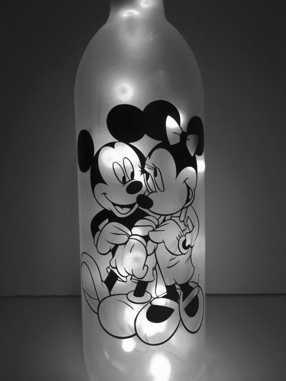 Mickey And Minnie Lighted Wine Bottle Sealed Disney Fairy