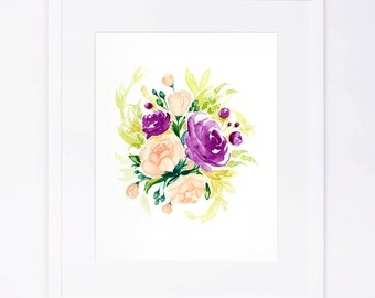 Purple Peach Watercolor Flower Bouquet Print