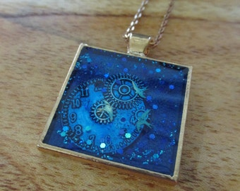 Handmade Resin Jewelry - Time Flies - Necklace - with gift box.