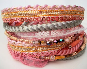 Fabric bracelet wrap bracelet textile jewelry fabric necklace indian ribbon silk pink gold Hippy bracelet