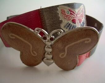 Vintage 1990s Butterfly Leather Belt