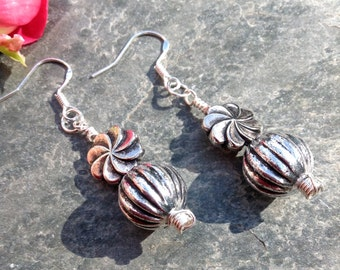 Bead Earrings Drop Earrings Silver Plate