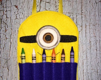 Yellow One Eyed minion Helper Crayon Holder