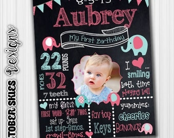 First Birthday Chalkboard, Elephant Birthday Chalkboard, Birthday poster, Custom Digital File, any age