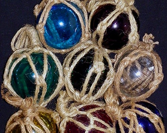 """Nautical Fish Net Buoy Glass Floats 3"""" Diameter ~Reproductions ~ Braided in 1/8"""" Hemp Webbing~Available in 7 Colors~Each sold separately"""