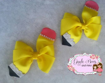 Back to school bows,Pencil hair bow,yellow hair bow,pencils, pigtail hair bows, pigtail bows,pigtails,school, school hair bow, school spirit