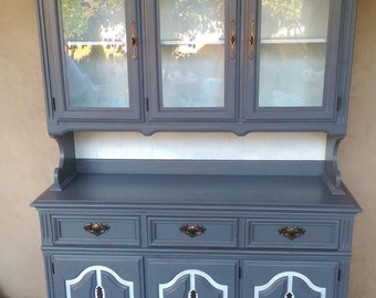 Grey & White; Hand Painted; Vintage; Hutch