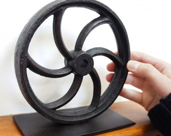 Andenmere Iron Rolling Wheel Book End or Door Stop