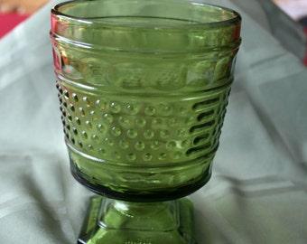 Napco Green Hobnail glass planter, vase, pedestal dish