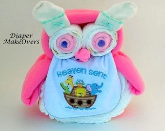 how to make an owl diaper cake for boy