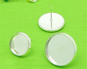 50 pairs (100 pcs) silver earring Studs 8mm-14mm Cabochon Bezel Setting Nickel Free