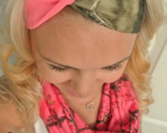 Pink and Mossy Oak Turban Headband