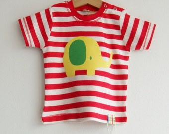 Baby t-shirts with colourful hand applied designs