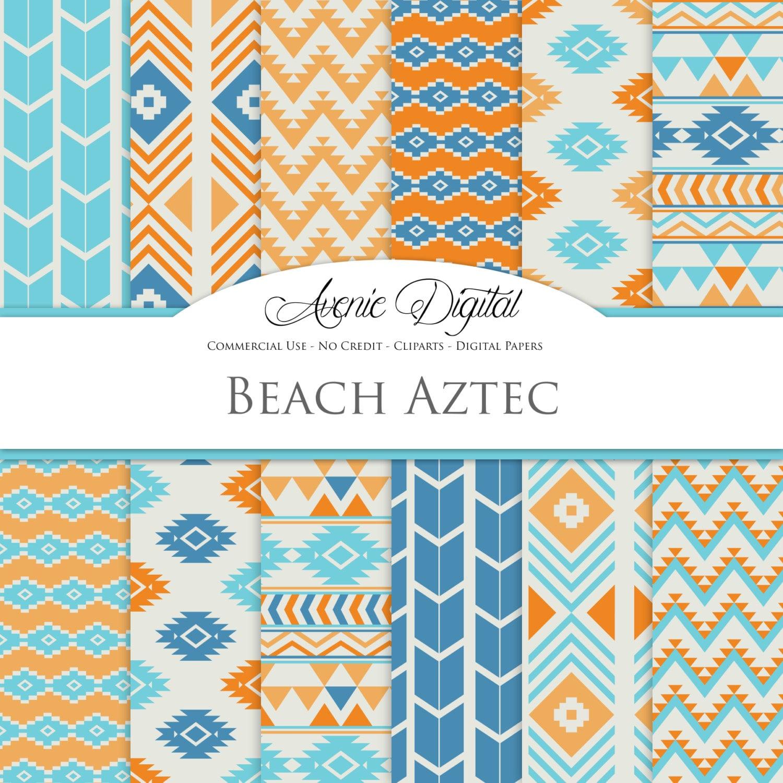 Scrapbook paper beach - Beach Aztec Digital Paper Scrapbook Backgrounds Aztec Patterns Tribal Backgrounds Native Orange And Blue Commercial Use Download