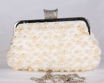 Pearl Clutch, Vintage Wedding Accesories, Bridal Clutch with Crystal Accent, Bridal Evening Bag ,Prom Clutch, Formal Party Bag c55