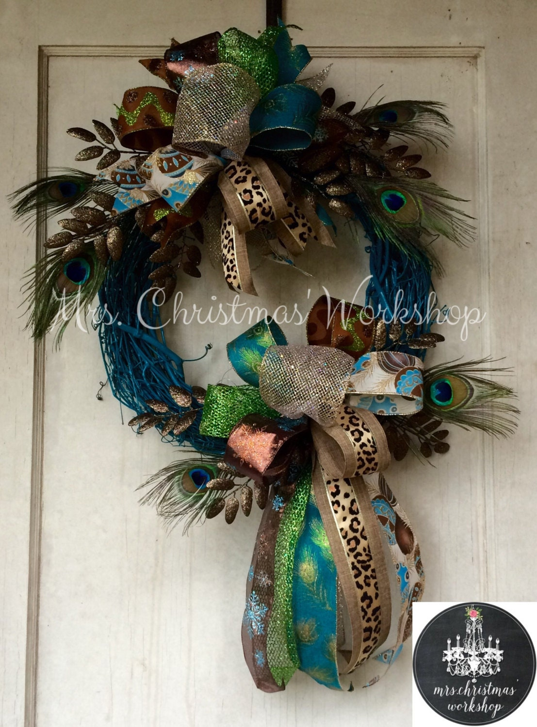 Christmas wreath grapevine peacock funky bow
