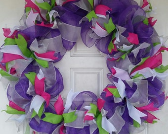 Colorful Purple Ribbon and Mesh Wreath