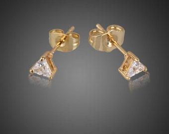 Geometry Triangle Crystal Rhinestone 18k Gold Plated Alloy Stud Earrings